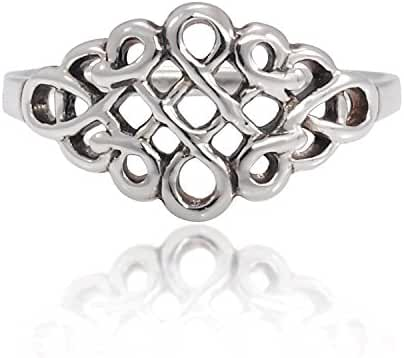 925 Sterling Silver Celtic Infinity Knot Band Ring for Women - Nickel Free